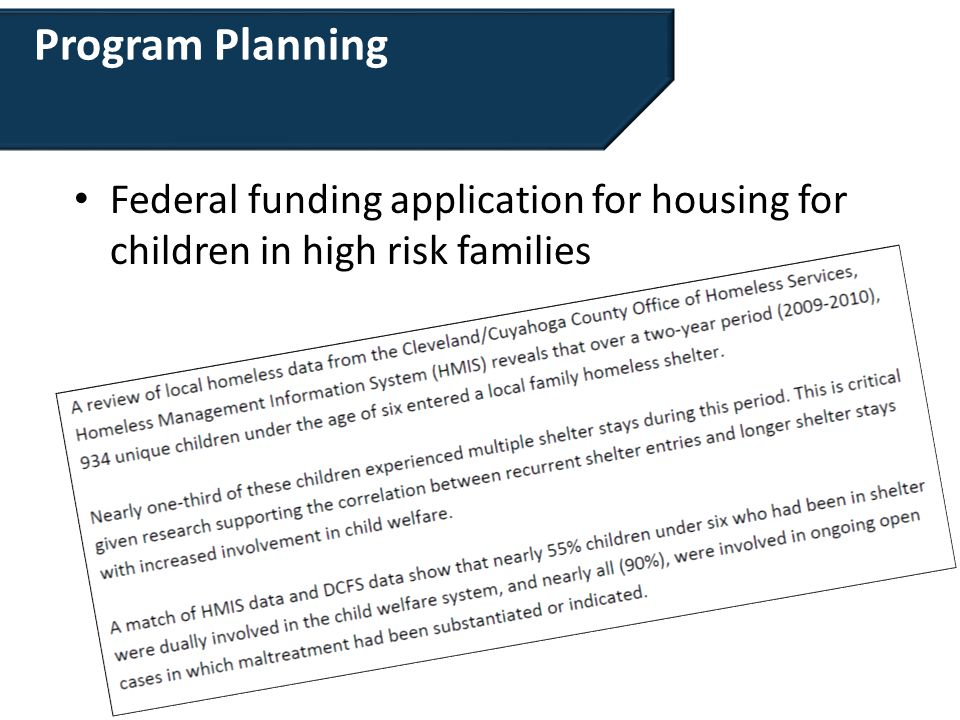 Program Planning Federal funding application for housing for children in high risk families