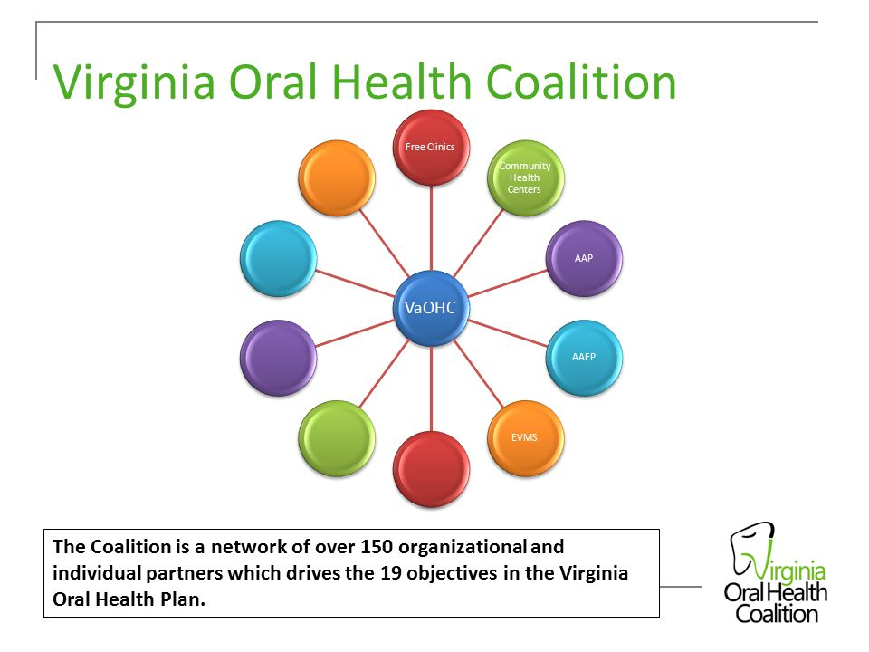 Virginia Oral Health Coalition The Coalition is a network of over 150 organizational and individual partners which drives the 19 objectives in the Virginia Oral Health Plan.