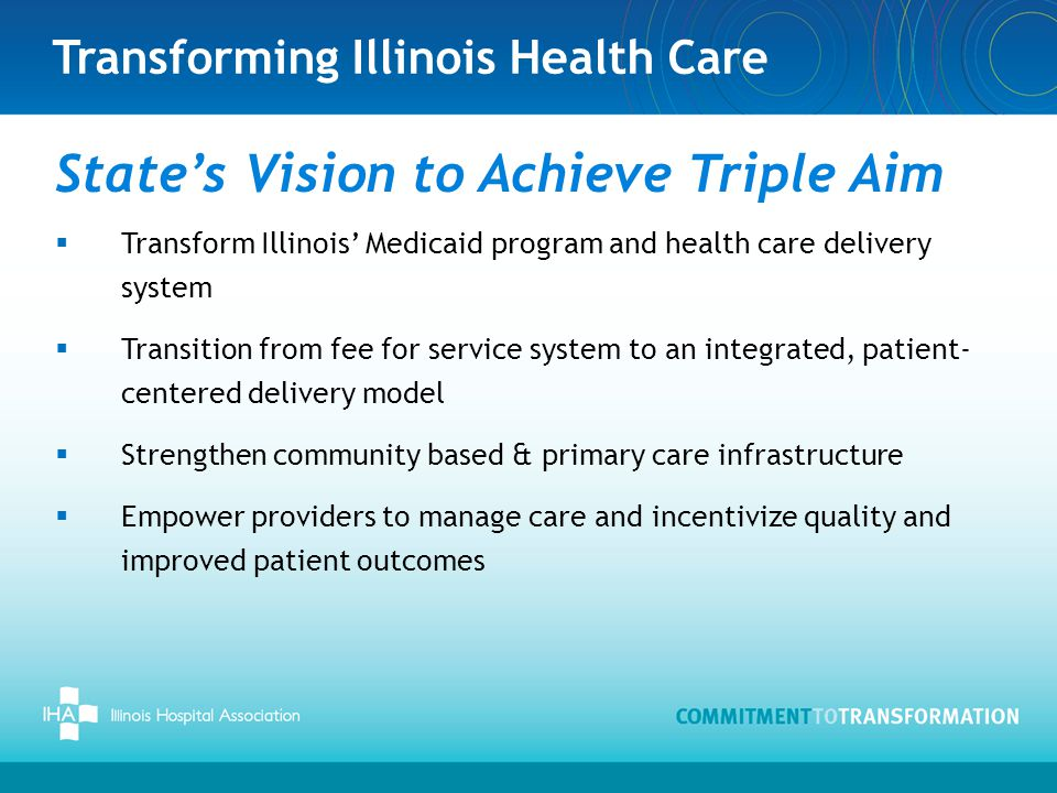 Transforming Illinois Health Care State's Vision to Achieve Triple Aim  Transform Illinois' Medicaid program and health care delivery system  Transition from fee for service system to an integrated, patient- centered delivery model  Strengthen community based & primary care infrastructure  Empower providers to manage care and incentivize quality and improved patient outcomes
