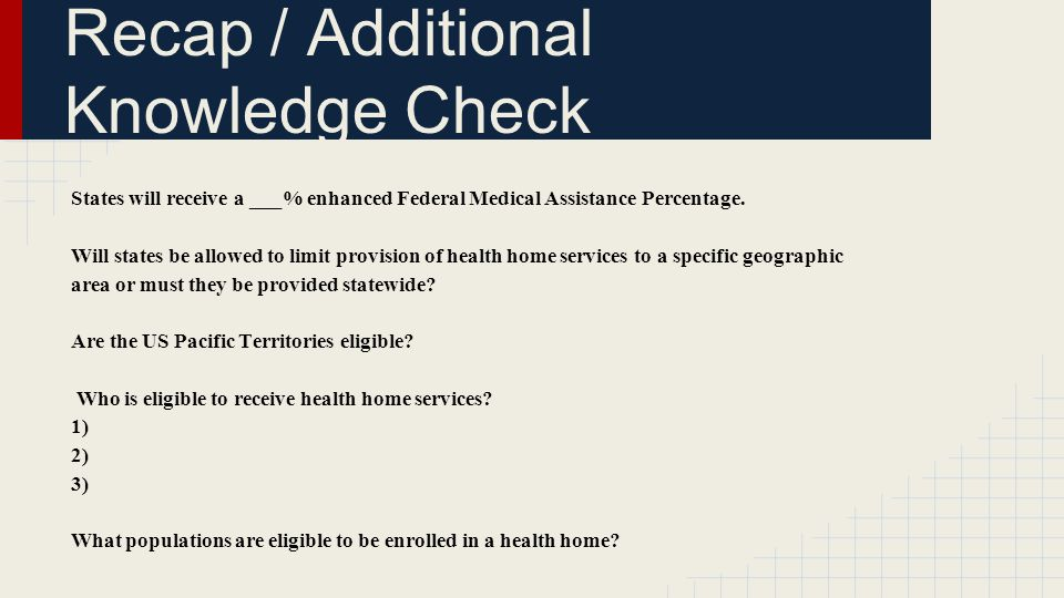 Recap / Additional Knowledge Check States will receive a ___% enhanced Federal Medical Assistance Percentage.