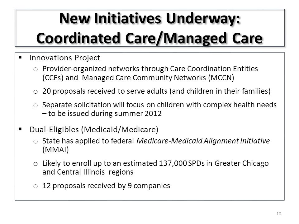 New Initiatives Underway: Coordinated Care/Managed Care  Innovations Project o Provider-organized networks through Care Coordination Entities (CCEs) and Managed Care Community Networks (MCCN) o 20 proposals received to serve adults (and children in their families) o Separate solicitation will focus on children with complex health needs – to be issued during summer 2012  Dual-Eligibles (Medicaid/Medicare) o State has applied to federal Medicare-Medicaid Alignment Initiative (MMAI) o Likely to enroll up to an estimated 137,000 SPDs in Greater Chicago and Central Illinois regions o 12 proposals received by 9 companies 10