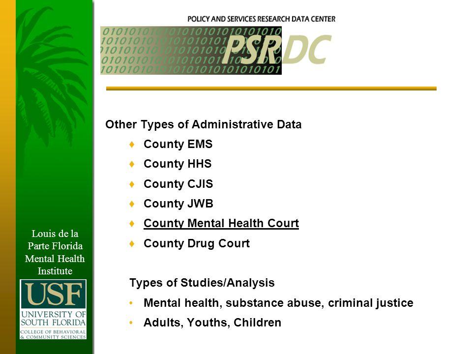 Louis De La Parte Florida Mental Health Institute Integrated Data