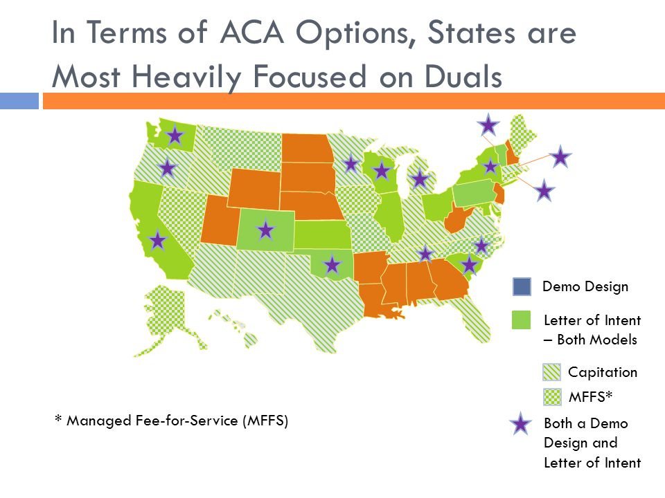 In Terms of ACA Options, States are Most Heavily Focused on Duals Letter of Intent – Both Models Demo Design Capitation MFFS* * Managed Fee-for-Service (MFFS) Both a Demo Design and Letter of Intent