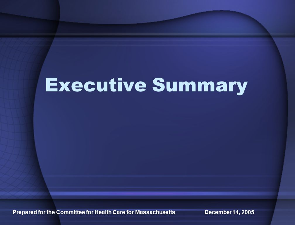 Prepared for the Committee for Health Care for Massachusetts December 14, 2005 Executive Summary