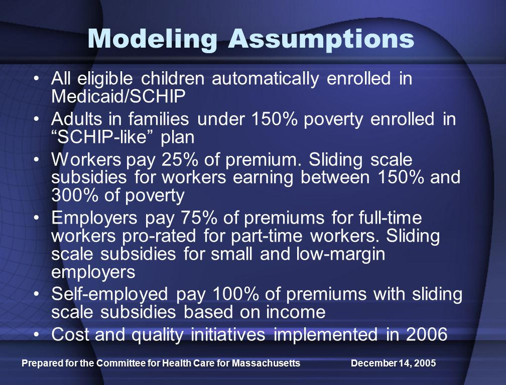 Prepared for the Committee for Health Care for Massachusetts December 14, 2005 Modeling Assumptions All eligible children automatically enrolled in Medicaid/SCHIP Adults in families under 150% poverty enrolled in SCHIP-like plan Workers pay 25% of premium.