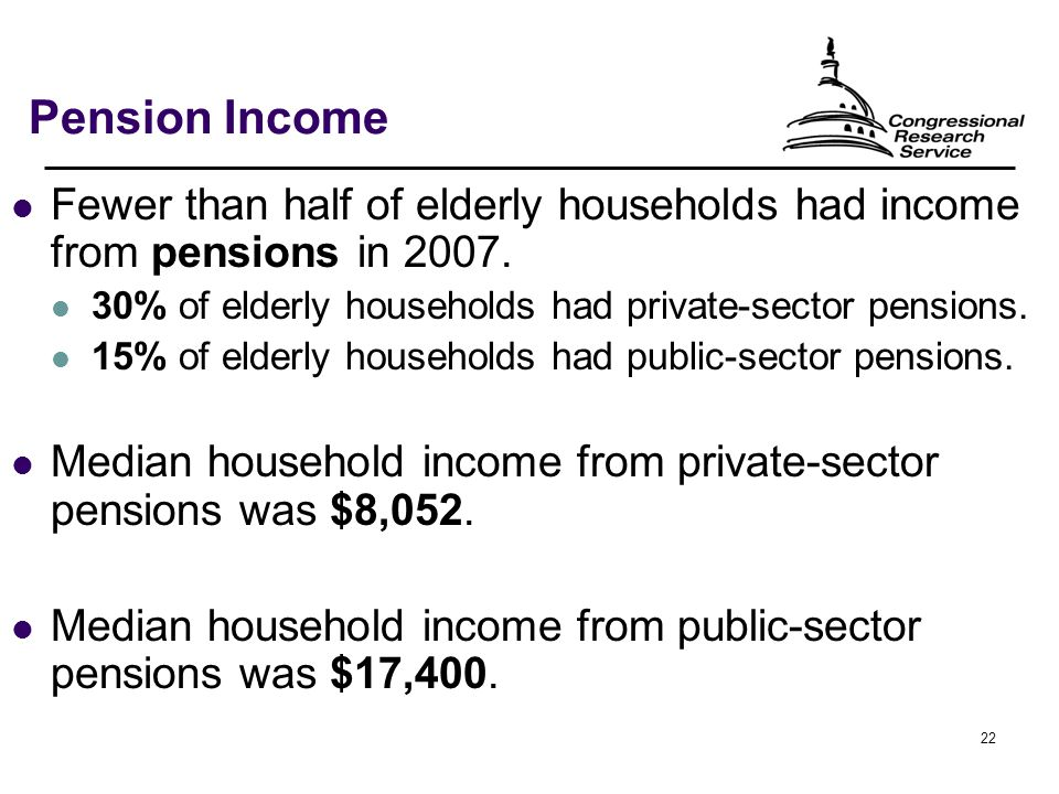 22 Pension Income Fewer than half of elderly households had income from pensions in 2007.