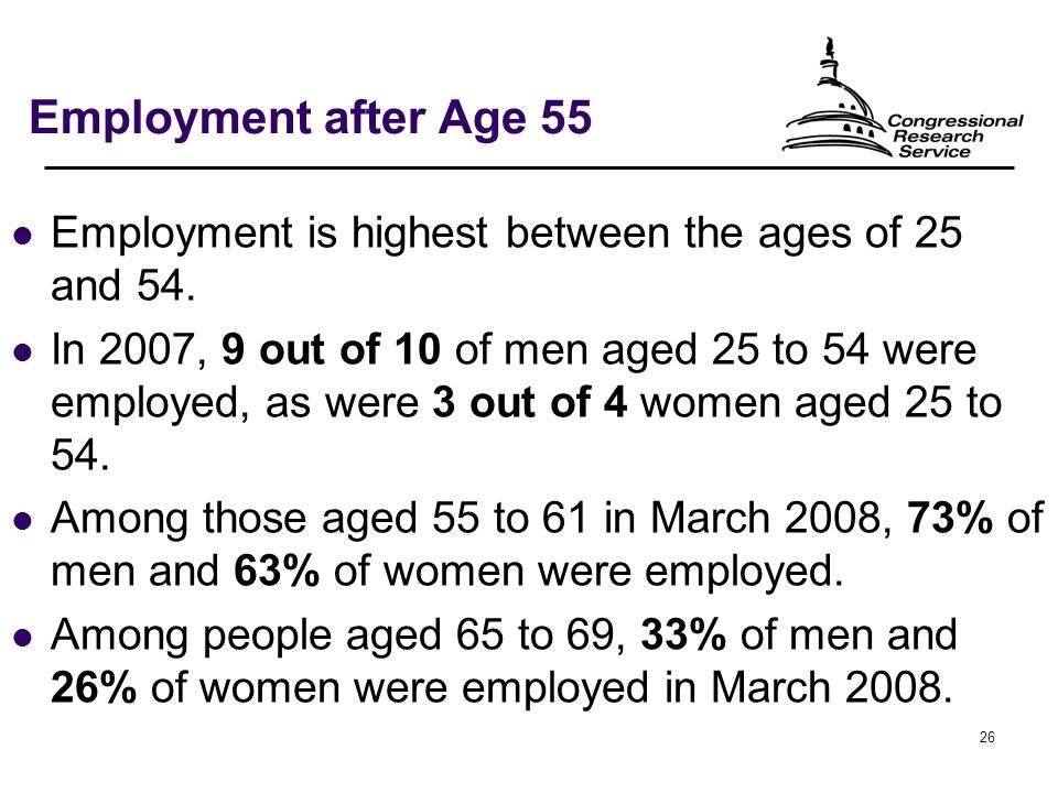 26 Employment after Age 55 Employment is highest between the ages of 25 and 54.