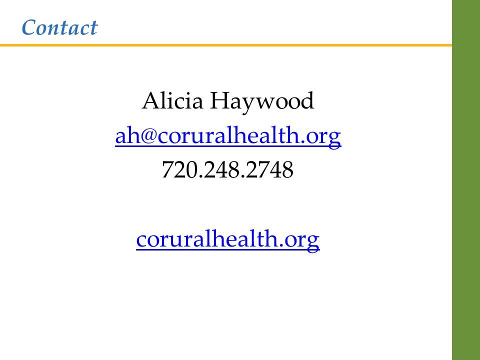 Alicia Haywood coruralhealth.org Contact