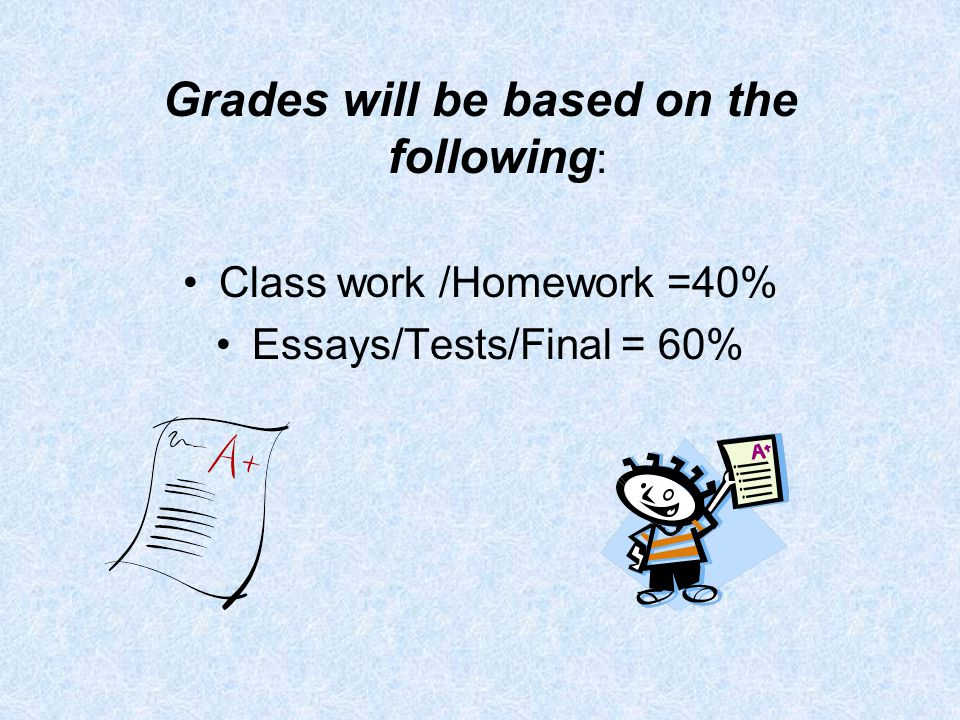 Grades will be based on the following : Class work /Homework =40% Essays/Tests/Final = 60%