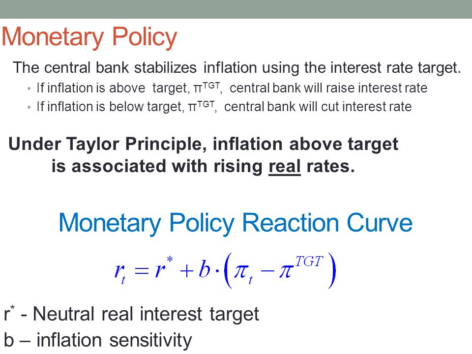 Monetary Policy The central bank stabilizes inflation using the interest rate target.