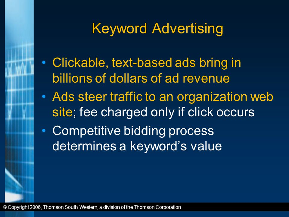 © Copyright 2006, Thomson South-Western, a division of the Thomson Corporation Keyword Advertising Clickable, text-based ads bring in billions of dollars of ad revenue Ads steer traffic to an organization web site; fee charged only if click occurs Competitive bidding process determines a keyword's value
