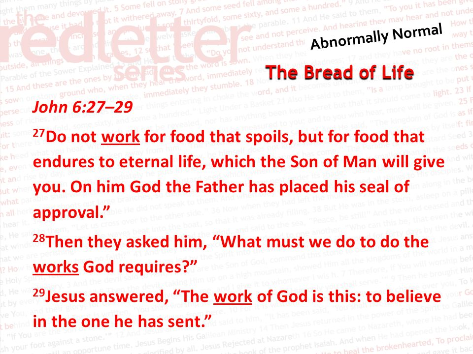 The Bread of Life John 6:27–29 27 Do not work for food that spoils, but for food that endures to eternal life, which the Son of Man will give you.