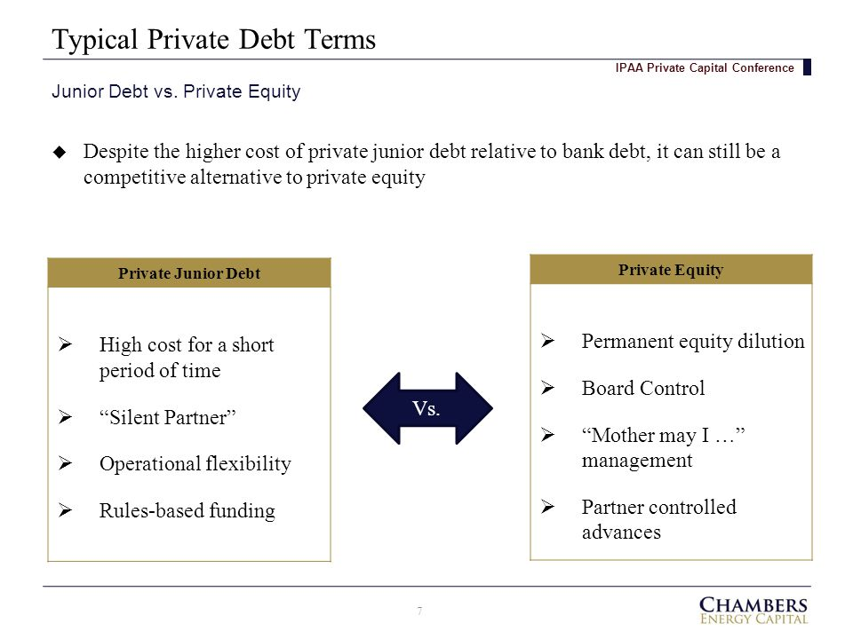 Typical Private Debt Terms 7 Junior Debt vs.