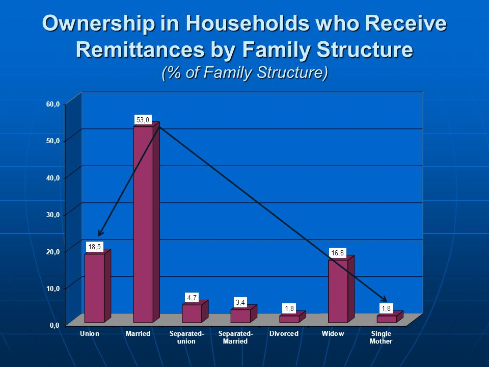 Ownership in Households who Receive Remittances by Family Structure (% of Family Structure)