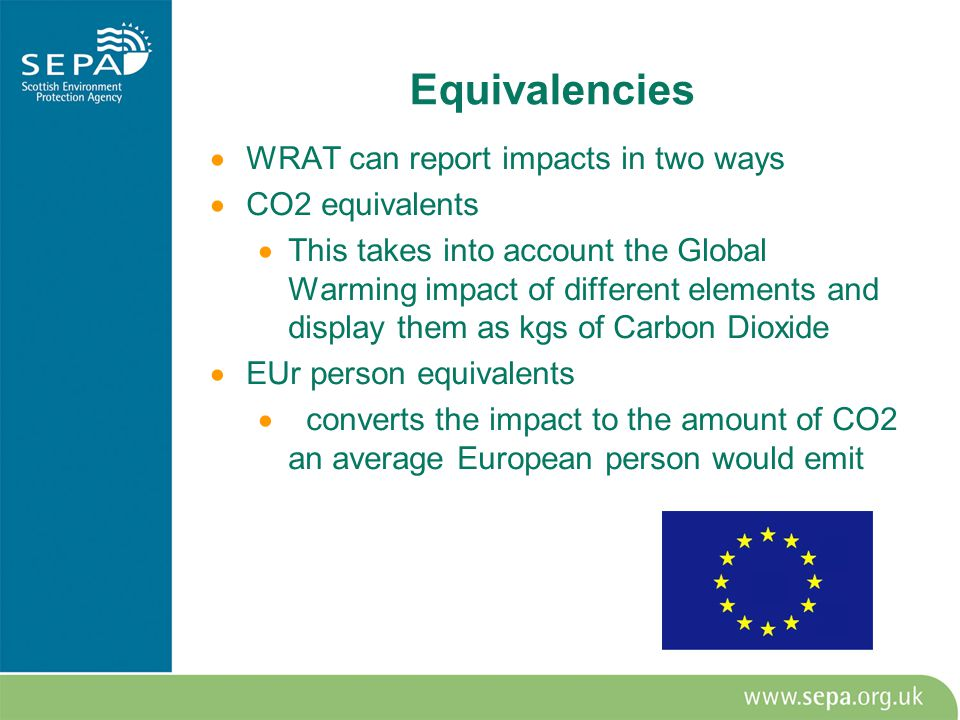 Equivalencies  WRAT can report impacts in two ways  CO2 equivalents  This takes into account the Global Warming impact of different elements and display them as kgs of Carbon Dioxide  EUr person equivalents  converts the impact to the amount of CO2 an average European person would emit