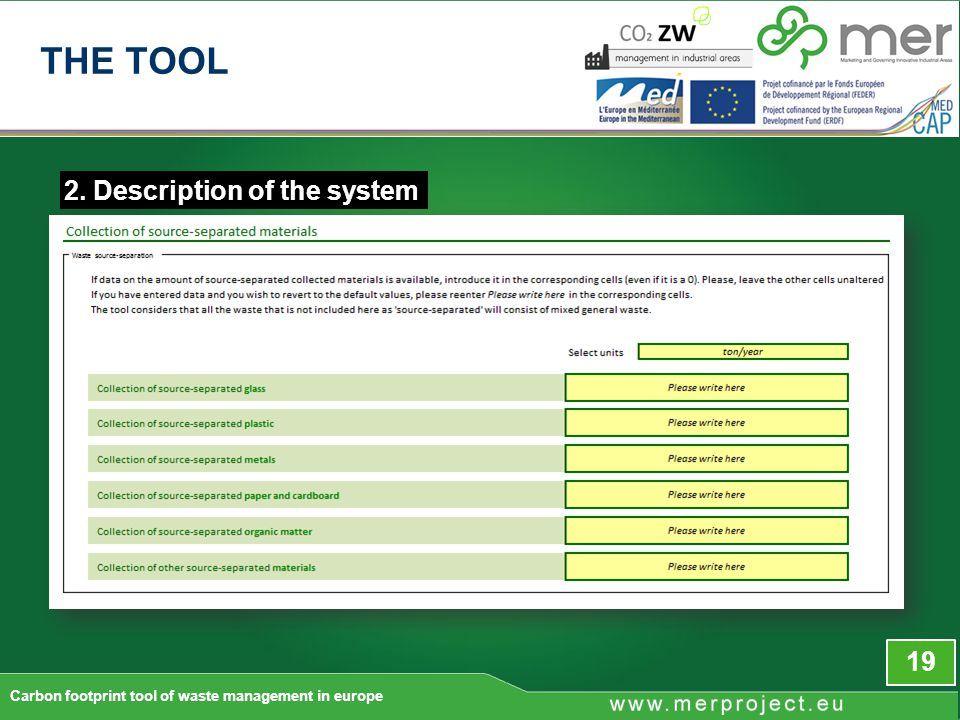 2. Description of the system 19 Carbon footprint tool of waste management in europe THE TOOL