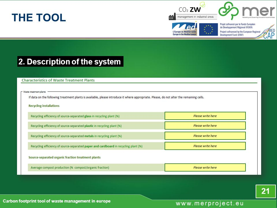 2. Description of the system 21 Carbon footprint tool of waste management in europe THE TOOL