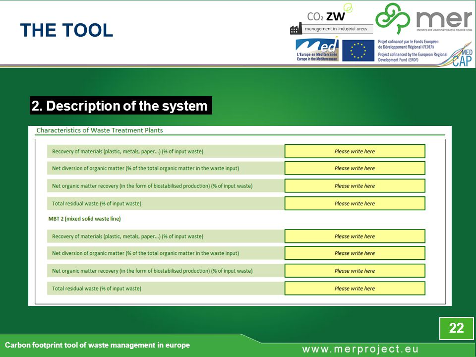 2. Description of the system 22 Carbon footprint tool of waste management in europe THE TOOL