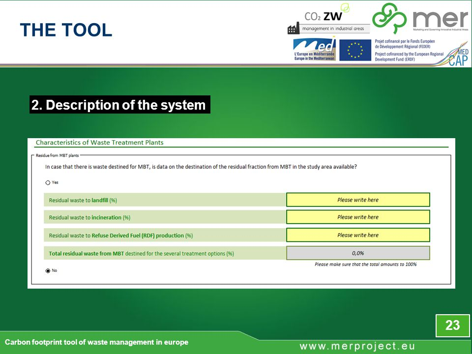 2. Description of the system 23 Carbon footprint tool of waste management in europe THE TOOL