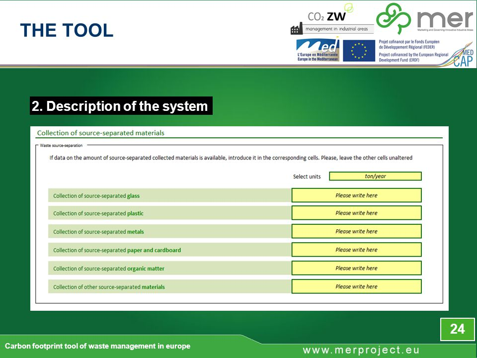 2. Description of the system 24 Carbon footprint tool of waste management in europe THE TOOL