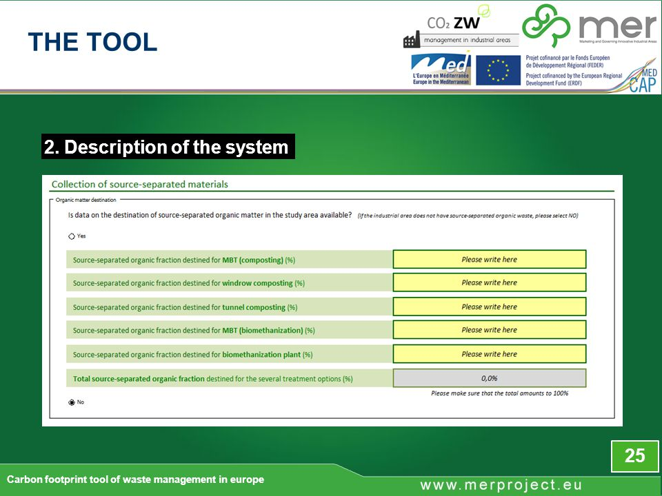 2. Description of the system 25 Carbon footprint tool of waste management in europe THE TOOL