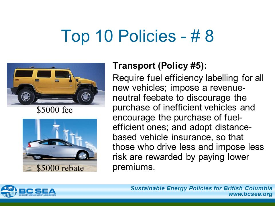 Sustainable Energy Policies for British Columbia   Top 10 Policies - # 8 Transport (Policy #5): Require fuel efficiency labelling for all new vehicles; impose a revenue- neutral feebate to discourage the purchase of inefficient vehicles and encourage the purchase of fuel- efficient ones; and adopt distance- based vehicle insurance, so that those who drive less and impose less risk are rewarded by paying lower premiums.