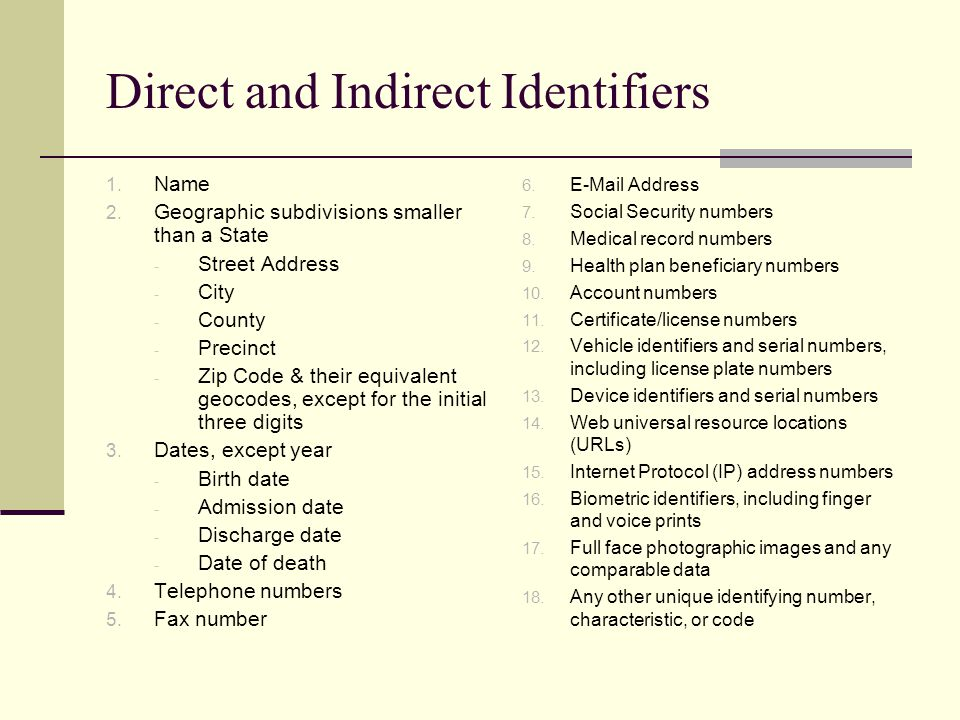 Direct and Indirect Identifiers 1. Name 2.