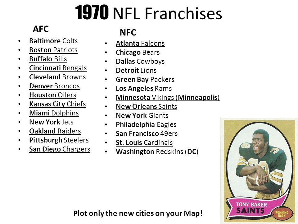 9 1970 NFL Franchises AFC Baltimore Colts Boston Patriots Buffalo Bills  Cincinnati Bengals Cleveland Browns Denver Broncos Houston Oilers Kansas  City Chiefs ... 3781a03f8