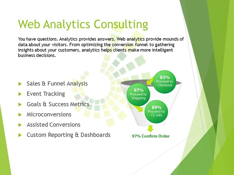 Web Analytics Consulting  Sales & Funnel Analysis  Event Tracking  Goals & Success Metrics  Microconversions  Assisted Conversions  Custom Reporting & Dashboards You have questions.