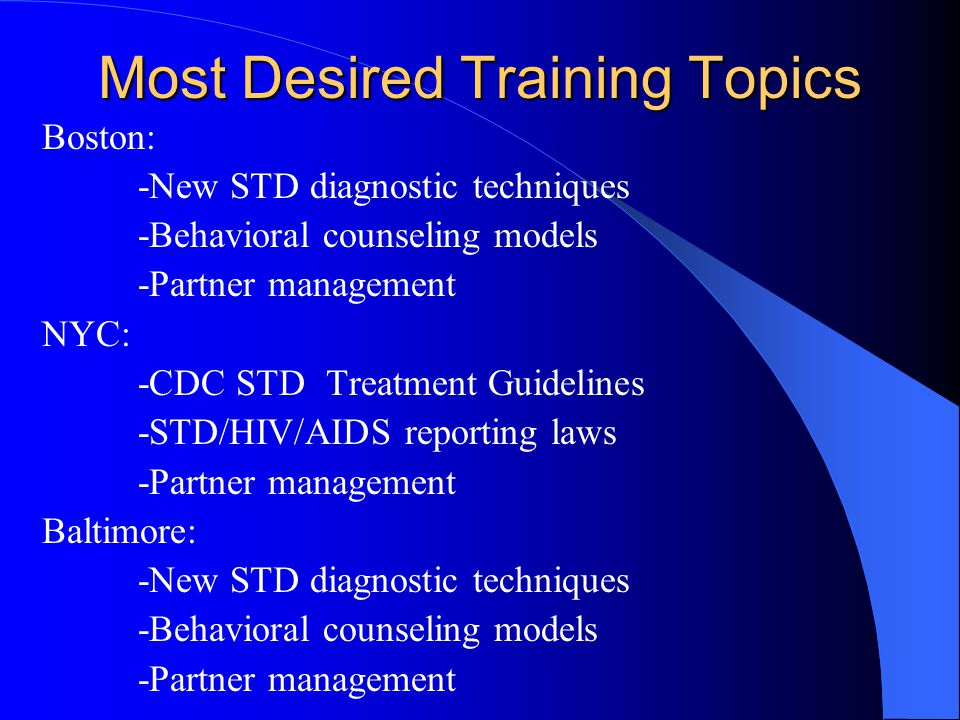 Most Desired Training Topics Boston: -New STD diagnostic techniques -Behavioral counseling models -Partner management NYC: -CDC STD Treatment Guidelines -STD/HIV/AIDS reporting laws -Partner management Baltimore: -New STD diagnostic techniques -Behavioral counseling models -Partner management