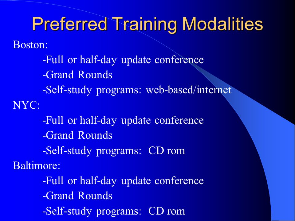 Preferred Training Modalities Boston: -Full or half-day update conference -Grand Rounds -Self-study programs: web-based/internet NYC: -Full or half-day update conference -Grand Rounds -Self-study programs: CD rom Baltimore: -Full or half-day update conference -Grand Rounds -Self-study programs: CD rom