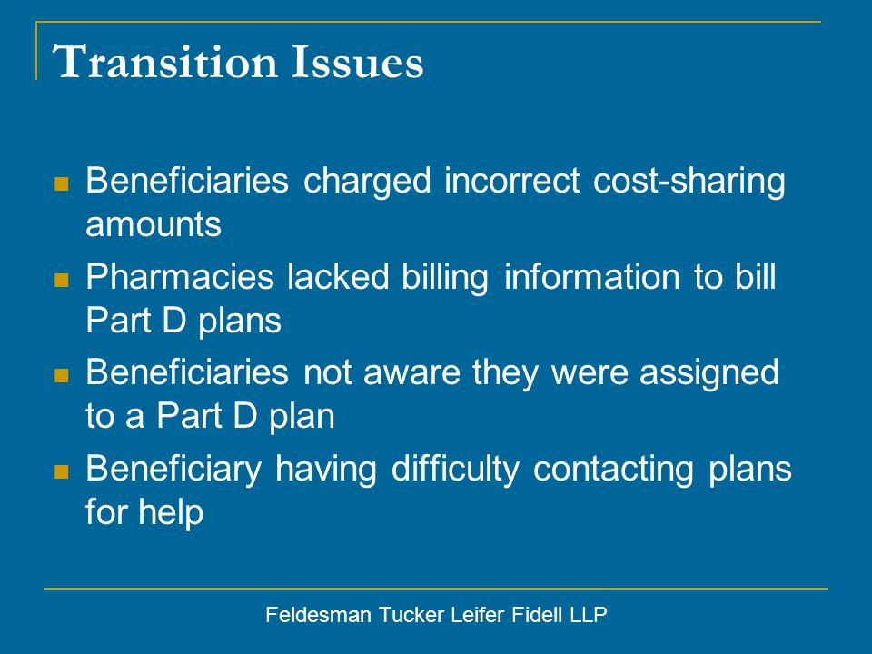 Feldesman Tucker Leifer Fidell LLP Transition Issues Beneficiaries charged incorrect cost-sharing amounts Pharmacies lacked billing information to bill Part D plans Beneficiaries not aware they were assigned to a Part D plan Beneficiary having difficulty contacting plans for help