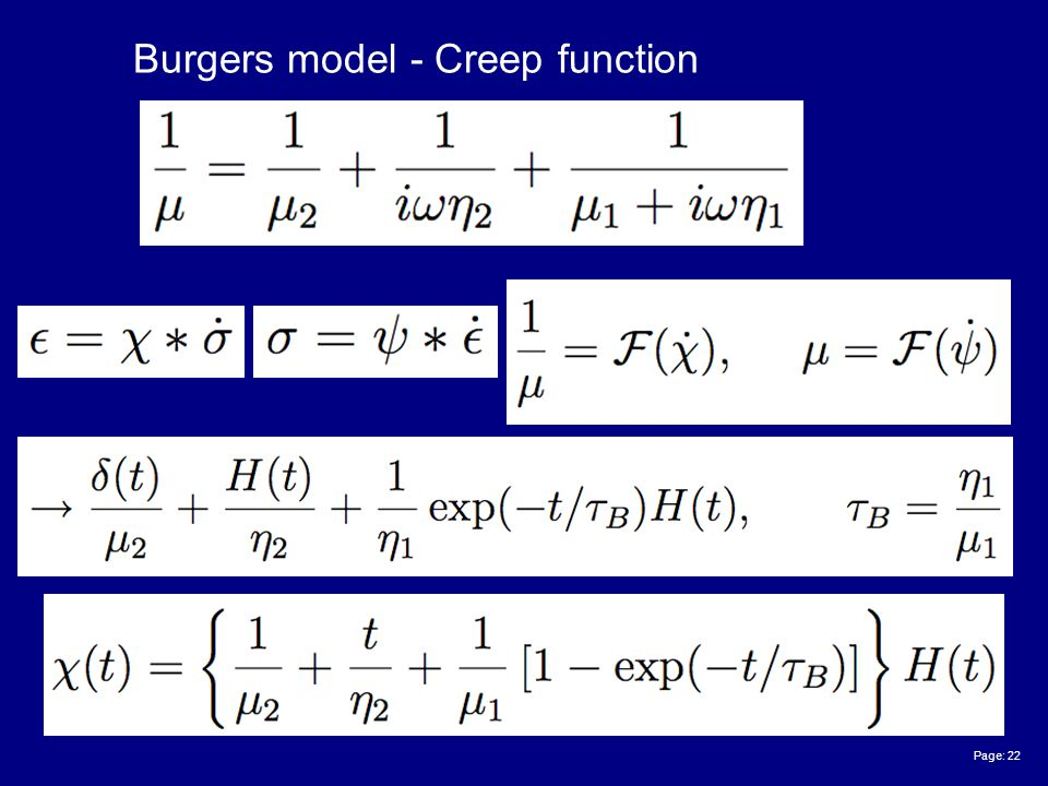 Page: 22 Burgers model - Creep function