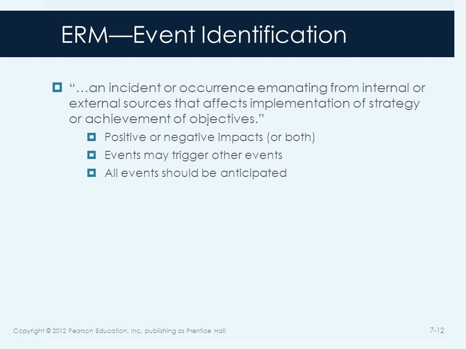 ERM—Event Identification  …an incident or occurrence emanating from internal or external sources that affects implementation of strategy or achievement of objectives.  Positive or negative impacts (or both)  Events may trigger other events  All events should be anticipated Copyright © 2012 Pearson Education, Inc.