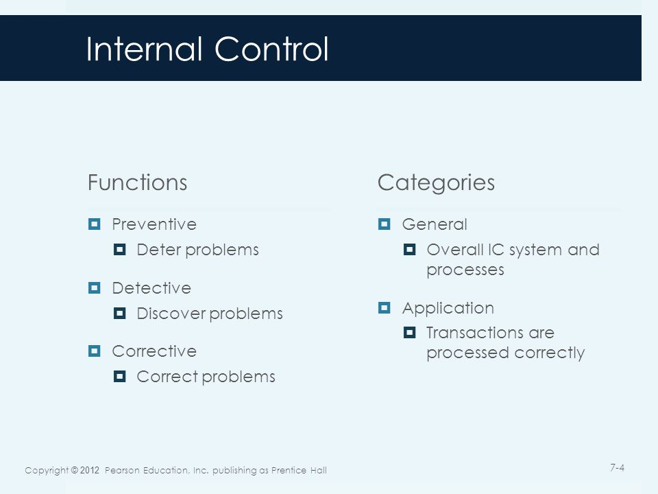 Internal Control Functions  Preventive  Deter problems  Detective  Discover problems  Corrective  Correct problems Categories  General  Overall IC system and processes  Application  Transactions are processed correctly Copyright © 2012 Pearson Education, Inc.
