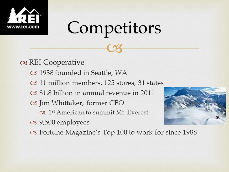 REI Cooperative  1938 founded in Seattle e4ce8530b3734