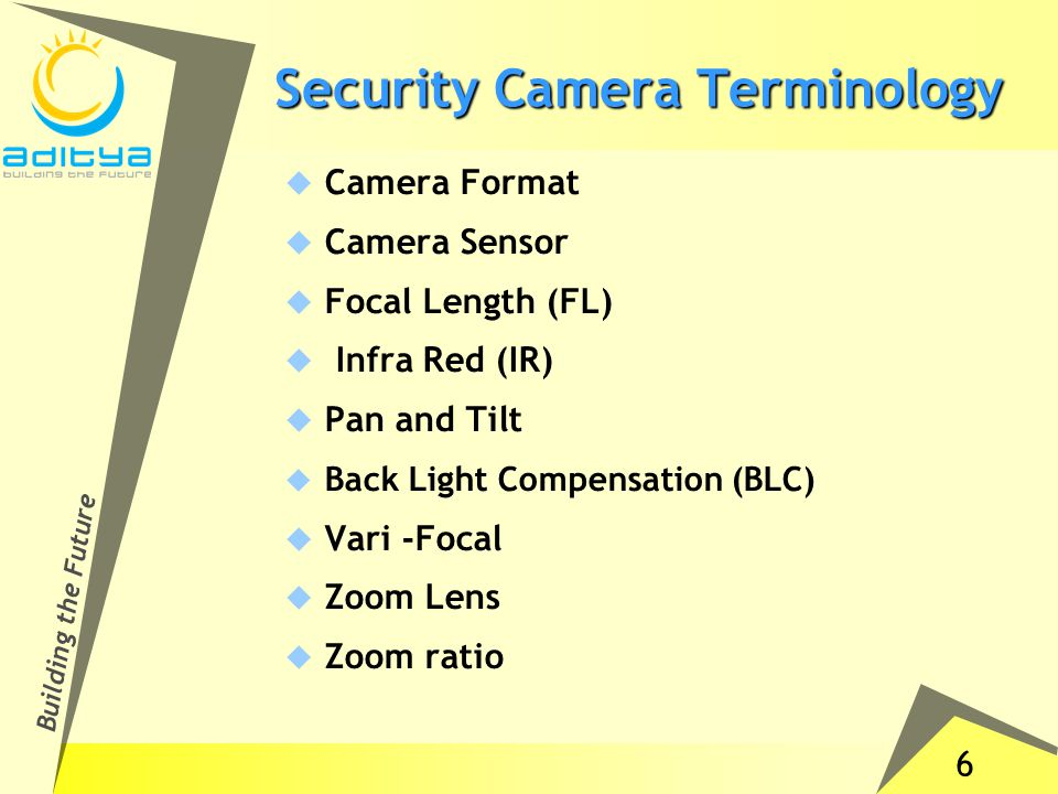 6 Building the Future Security Camera Terminology  Camera Format  Camera Sensor  Focal Length (FL)  Infra Red (IR)  Pan and Tilt  Back Light Compensation (BLC)  Vari -Focal  Zoom Lens  Zoom ratio