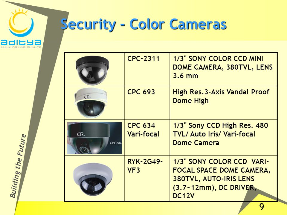 9 Building the Future Security - Color Cameras CPC-23111/3 SONY COLOR CCD MINI DOME CAMERA, 380TVL, LENS 3.6 mm CPC 693High Res.3-Axis Vandal Proof Dome High CPC 634 Vari-focal 1/3 Sony CCD High Res.