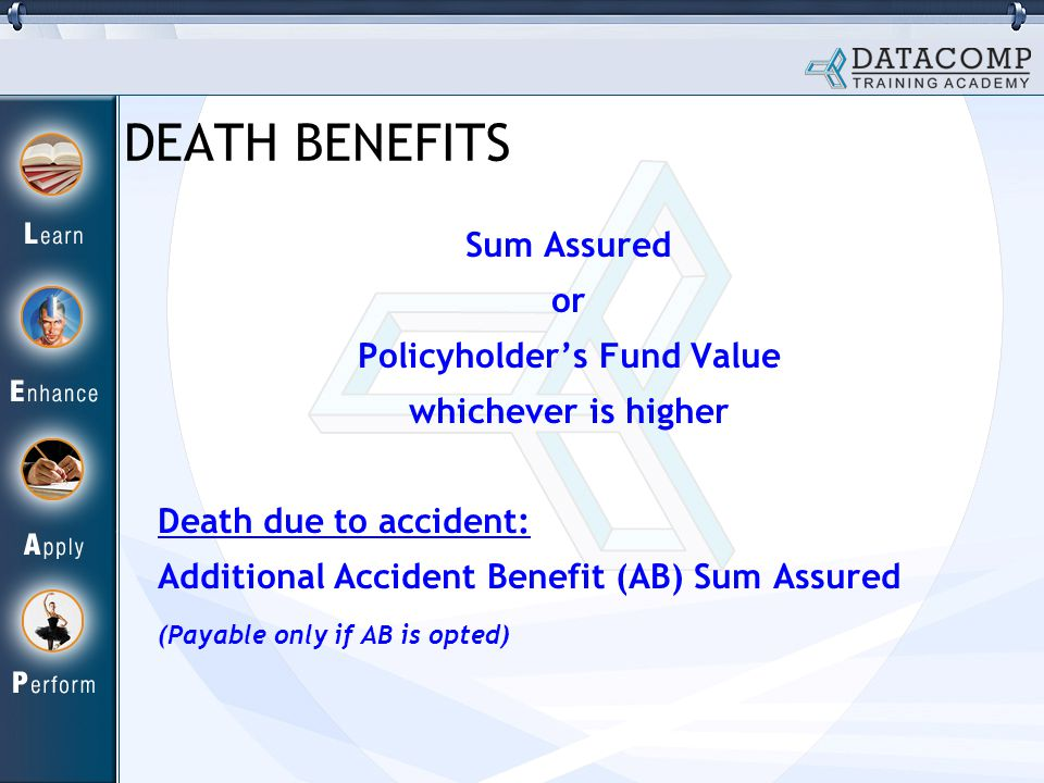 Sum Assured or Policyholder's Fund Value whichever is higher Death due to accident: Additional Accident Benefit (AB) Sum Assured (Payable only if AB is opted) DEATH BENEFITS