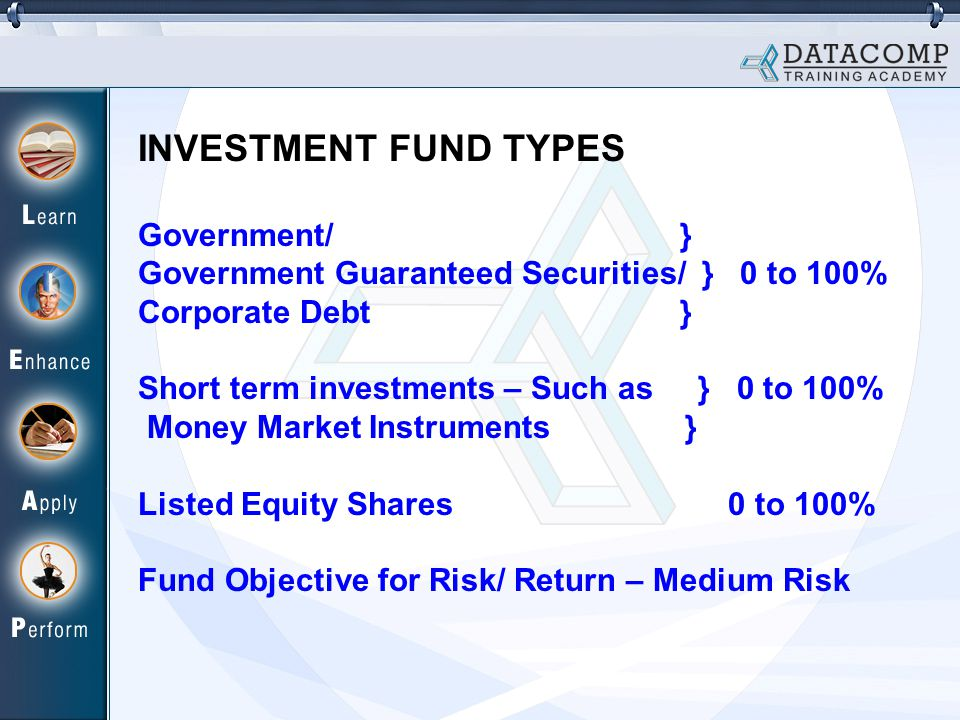 INVESTMENT FUND TYPES Government/ } Government Guaranteed Securities/ } 0 to 100% Corporate Debt } Short term investments – Such as } 0 to 100% Money Market Instruments } Listed Equity Shares 0 to 100% Fund Objective for Risk/ Return – Medium Risk