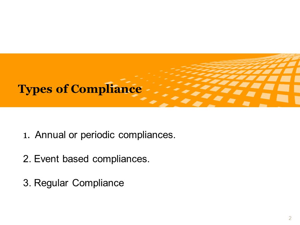 Types of Compliance 1. Annual or periodic compliances.