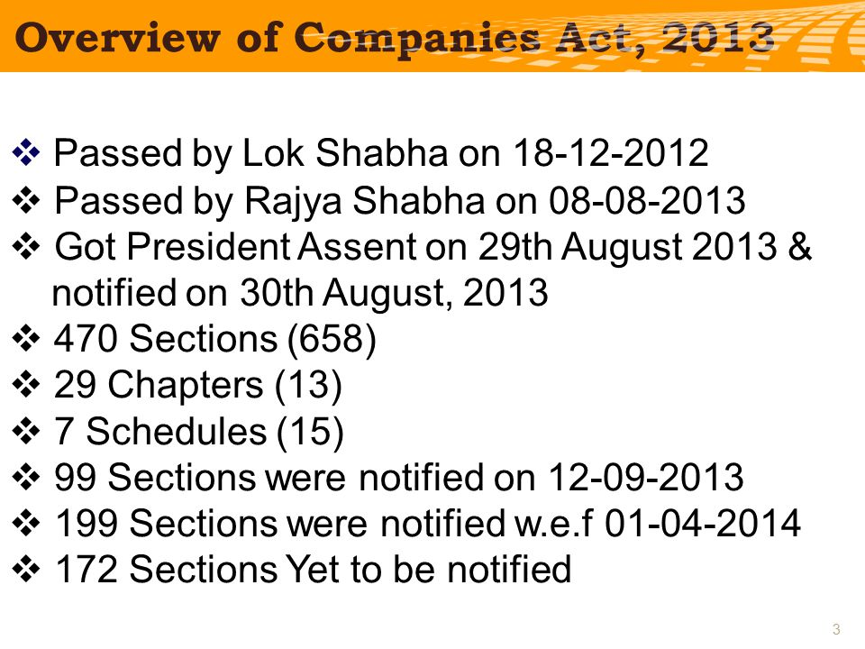  Passed by Lok Shabha on  Passed by Rajya Shabha on  Got President Assent on 29th August 2013 & notified on 30th August, 2013  470 Sections (658)  29 Chapters (13)  7 Schedules (15)  99 Sections were notified on  199 Sections were notified w.e.f  172 Sections Yet to be notified Overview of Companies Act,