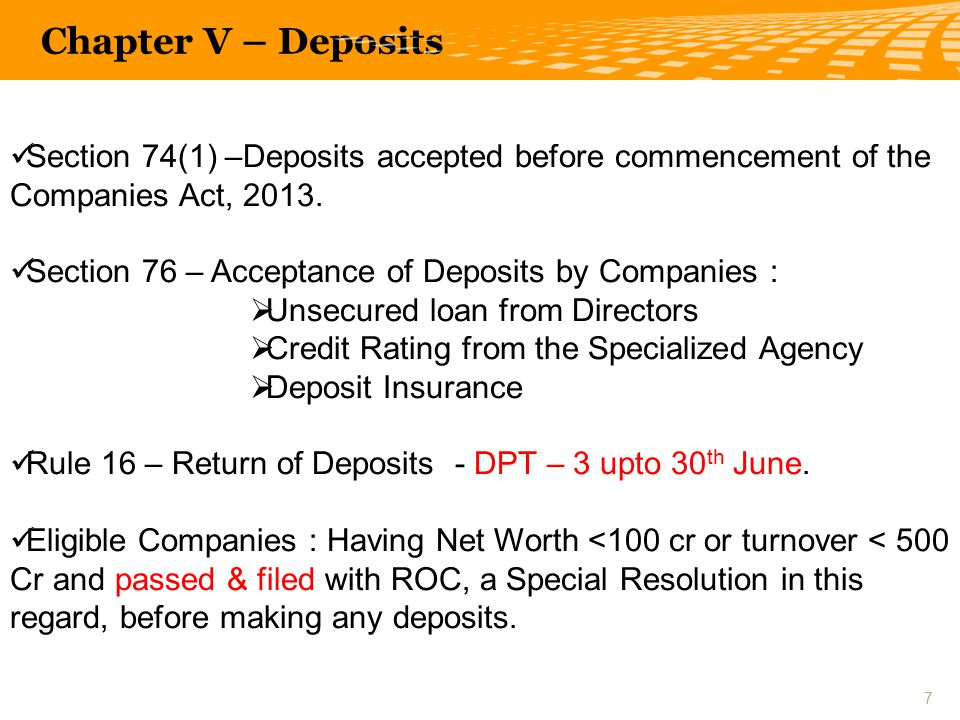 Section 74(1) –Deposits accepted before commencement of the Companies Act, 2013.