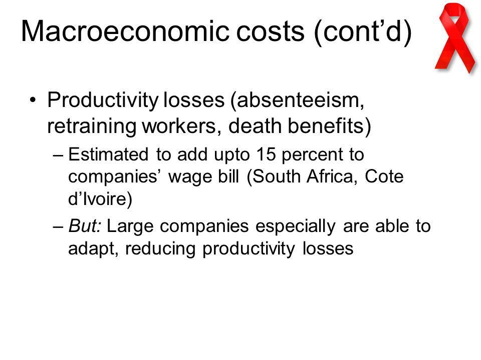 Macroeconomic costs (cont'd) Productivity losses (absenteeism, retraining workers, death benefits) –Estimated to add upto 15 percent to companies' wage bill (South Africa, Cote d'Ivoire) –But: Large companies especially are able to adapt, reducing productivity losses