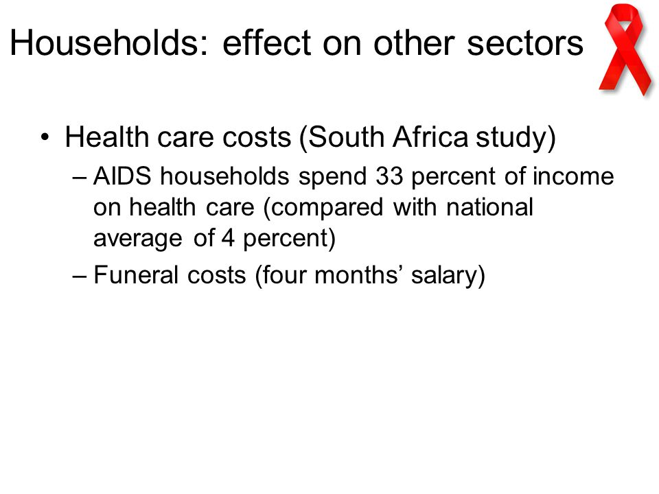 Households: effect on other sectors Health care costs (South Africa study) –AIDS households spend 33 percent of income on health care (compared with national average of 4 percent) –Funeral costs (four months' salary)
