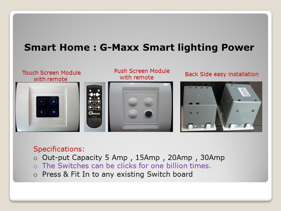Wireless Remote Control & Touch Screen Modular Switches. - ppt download