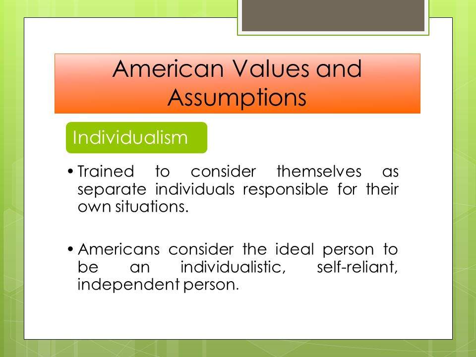 american values and assumptions