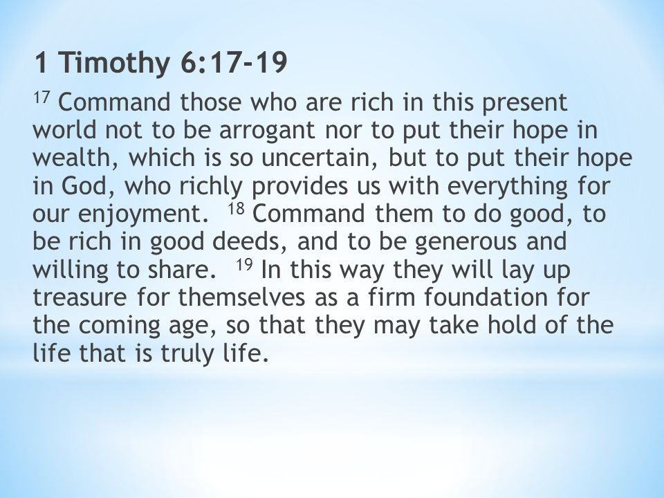 Image result for 1 timothy 6 17-19 niv