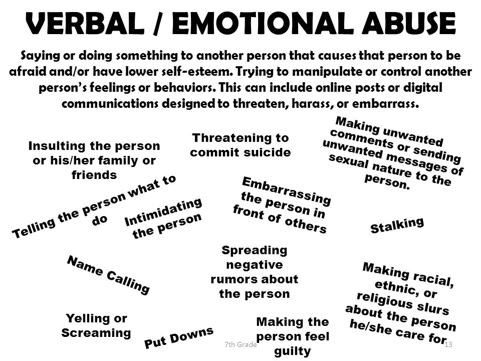 VERBAL / EMOTIONAL ABUSE Saying or doing something to another person that causes that person to be afraid and/or have lower self-esteem.