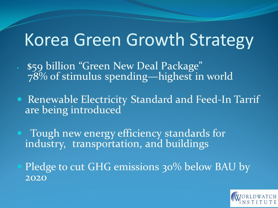 Korea Green Growth Strategy $59 billion Green New Deal Package 78% of stimulus spending—highest in world Renewable Electricity Standard and Feed-In Tarrif are being introduced Tough new energy efficiency standards for industry, transportation, and buildings Pledge to cut GHG emissions 30% below BAU by 2020